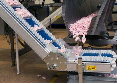 Belt Conveyor for transporting candy construckted by Bofab Conveyor AB for Cloetta AB in Ljungsbro