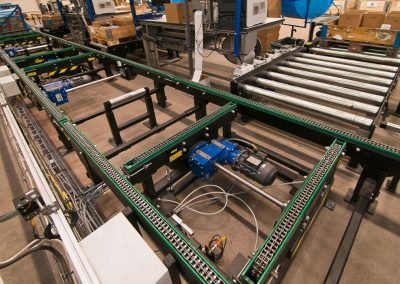 Roller Chain Conveyor and Roller Conveyor for transporting pallets constructed by Bofab Conveyor AB for Toyota Material Handling Manufacturing Sweden AB Mjölby