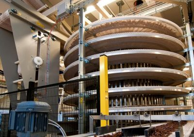 Spiral Conveyor for cooling an transporting chocolate candy constructed by Bofab Conveyor AB for Cloetta AB Ljungsbro